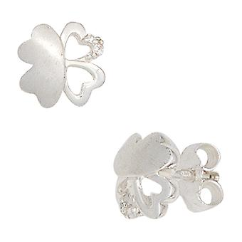 Children's studs shamrock 925 silver matted with cubic zirconia earrings