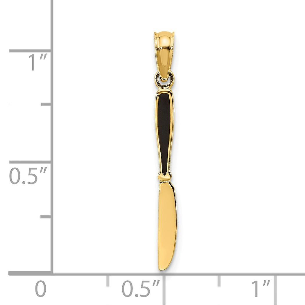 14k Gold 3 d Table Knife With Black Enamel Charm Pendant Necklace Jewelry Gifts for Women - .4 Grams