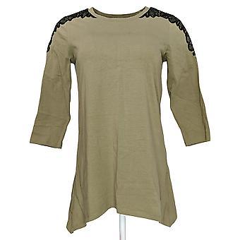 Denim & Co. Women's Top (XXS) 3/4 Sleeve Scoop Neck Green A267911