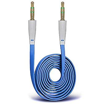 AUX-kabel, plat - 100cm (blauw)