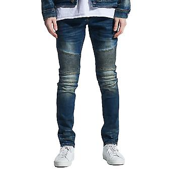 Embellish Garland Biker Denim Jeans Dirty Indigo Wash