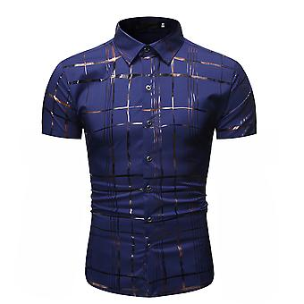 Allthemen Men-apos;s Bronzing Printed Pointed Collar Confortable Short-Sleeved Shirt