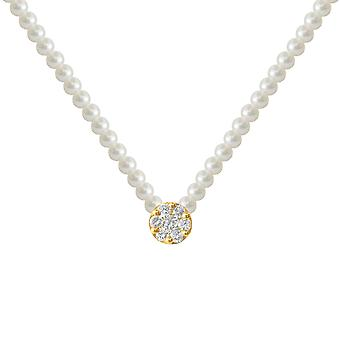 Collier Full Pearls Flower Diamonds Cluster et 18K Gold - Yellow Gold, White Pearl