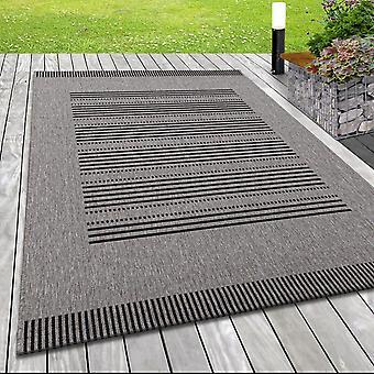 Moderne flat stof rug indoor buitenlijnen patroon Sisal Look Black Grey