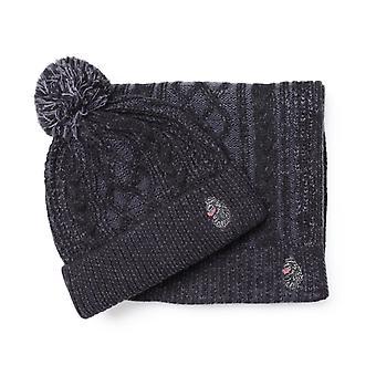 Luke 1977 Baigib Charcoal Grey Hat & Scarf Gift Set