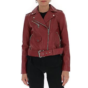 Michael von Michael Kors Mu02hyg8rk615 Damen's Burgund Leder Outerwear Jacke