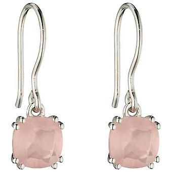 Elements Silver Cushion Rose Quartz Earrings - Silver/Pink