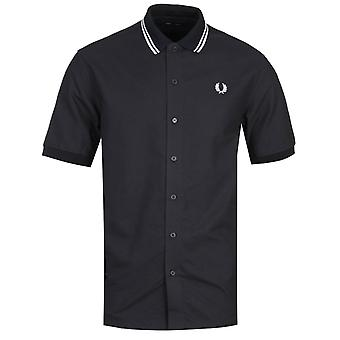 Fred Perry Flat-Knit Collar Black Polo Shirt