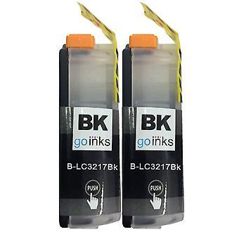 2 cartuchos de tinta preta para substituir o irmão LC3217Bk Compatível/não-OEM por Go Inks
