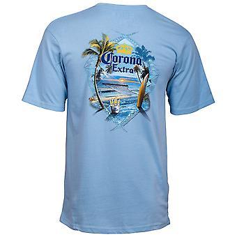 קורונה אקסטרה בחולצת כחול החוף