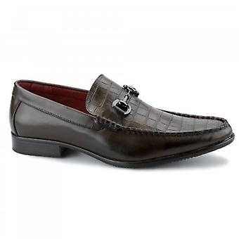 Giovanni Fabiano Mens Faux Leather Reptile Loafers Brown