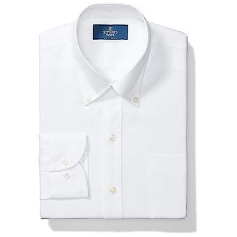 BUTTONED DOWN Men's Slim Fit Button-Collar Solid Non-Iron, White, Size 16.0