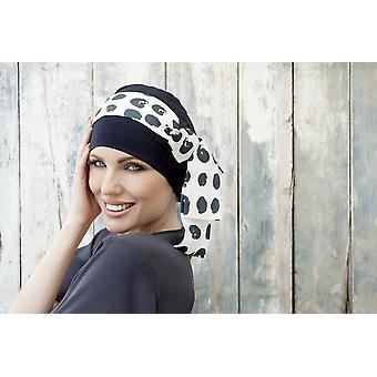 Bamboo hats for cancer patients women - Yanna Navy Polka Dot