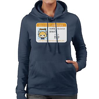 Aggretsuko Retsuko ID Card Design Women's Hooded Sweatshirt