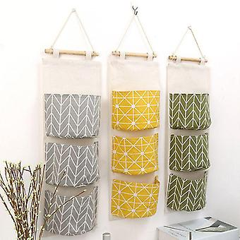 Multilayer Fashion Wall Door Cotton Hanging Organizer, Pockets Storage Bag