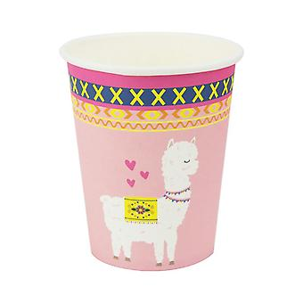 16PCs Jetable Boisson Papier Tasse Partie Vaisselle Décor Rose