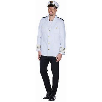 Kapteenin takki valkoinen olkapää läpät kulta raita caps Carnival Sailor