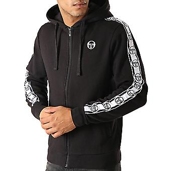 Sergio Tacchini Mens Dennet Casual Zip Up Hooded Tracksuit Track Jacket - Black
