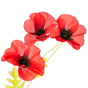 60cm Rich Red Poppy Spray - Artificial Fabric Flowers