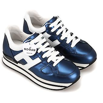 Hogan Women's fashion wedges sneakers shoes in metallic blue laminated leather