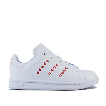 Girl & apos; s adidas Originals Barn Stan Smith Utbildare i vitt