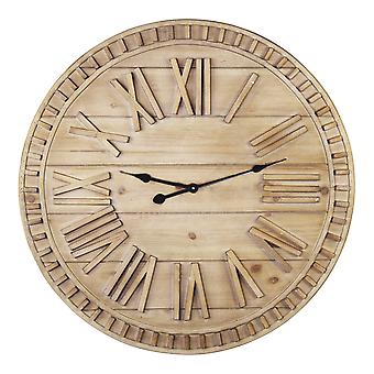 31.50 Round Wooden Face Nature-Inspired Wall Clock
