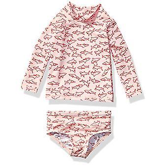 Essentials UPF 50- Baby Girls 2-Piece Long-Sleeve Rash Guard Set, Pink Shark, 3M