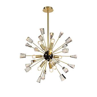 Luminosa Lighting - Takanheng Sputnik, 9 Lys E14, Børstet Gull & Glans Svart, Krystall