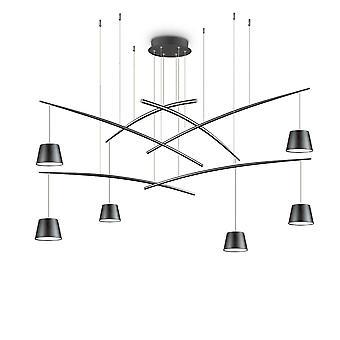 Ideel Lux Fisk - LED 6 Lys Klynge Loft Vedhæng Sort