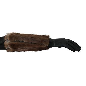 Dolce & Gabbana Green Leather Brown Fur Mid Arm Length Gloves