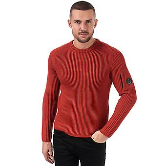 Men-apos;s C.P. Company Ribbed Knitted Crew Jumper en Orange