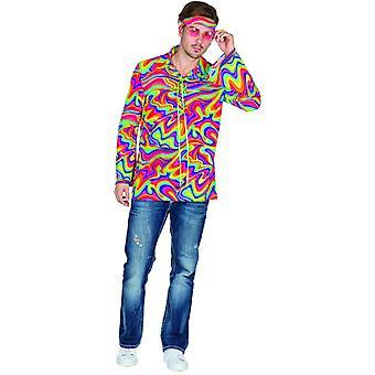 Hippie 70's Multi Męskie Hippie Costume Flower Power Hippie Shirt Costume Carnival