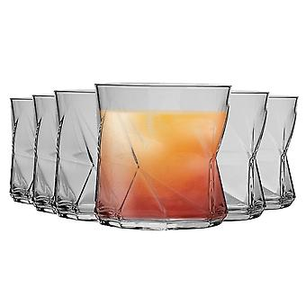Bormioli Rocco Cassiopea Geometric Whisky Tumbler Glasses Set - 320ml - Pack of 6
