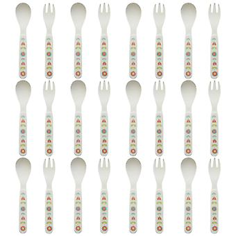Tiny Dining Children's Bamboo Fibre Dining Fork & Spoon Cutlery Set - Flower - Pack of 12