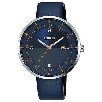 Lorus Męski zegarek z dużą smukłą tarczą i granatowym skórzanym paskiem (RH963LX9)