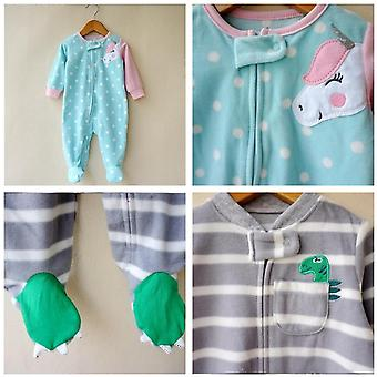Fashion Unicorn Baby Clothes, Soft Fleece Kids Stay At Home Romper Pajamas