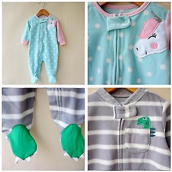 mote enhjørning baby jente klær, myk fleece barn bo hjemme romper pyjamas
