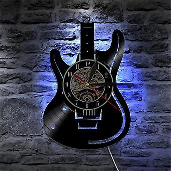 musikalsk gitar vinyl ledet veggur fargeendring dekorative hjem vintage gave