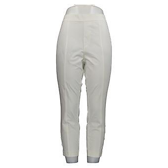 Isaac Mizrahi Live! Frauen's Petite Hose Faux Button Saum weiß A353176
