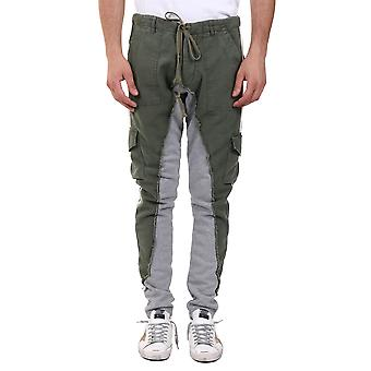 Greg Lauren Am033army Men's Grey/green Cotton Joggers