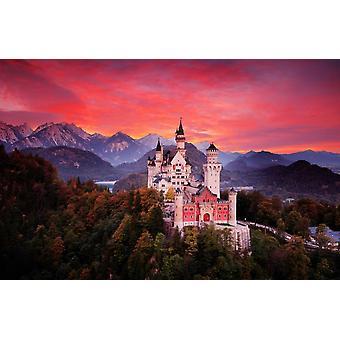 De muurschildering rode hemelavond van de muur met Kasteel