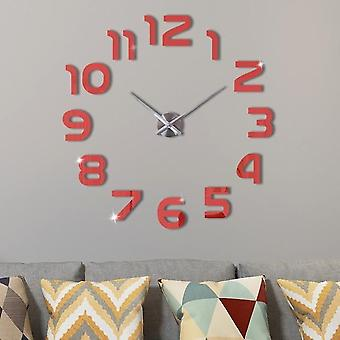 Large 3d Diy Wall Clock Sticker - Modern Design Silent Digital Acrylic Self