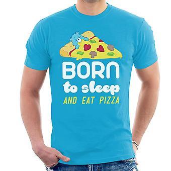 Care Bears Sleeptime Bear Born To Sleep And Eat Pizza Men's T-Shirt