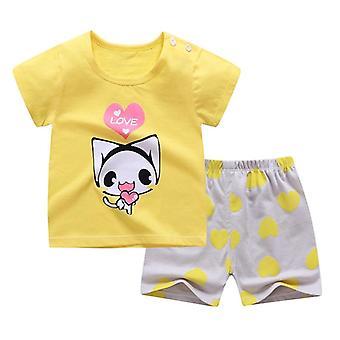 Bomuld Sommer Baby Soft Shorts Suit T-shirt, Spædbarn Tøj