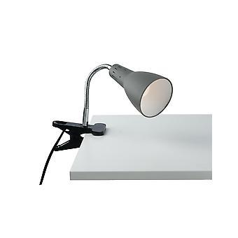 Verstelbare klemtafeltaaklamp, grijs, E14