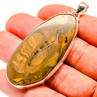 "Huge Picture Jasper 925 Sterling Silver Pendant 2 1/2""  - Handmade Boho Vintage Jewelry PD741716"