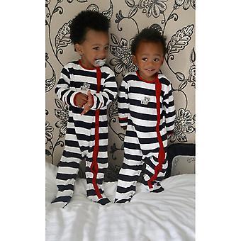 Základné jeden Baby Boys Sleepsuit v bielom a námorníctvo veľký prúžok
