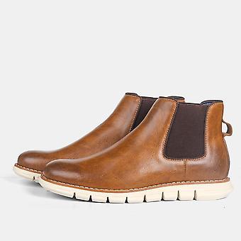 أحذية الكاحل للرجال، أحذية تشيلسي الجلدية مريحة أزياء
