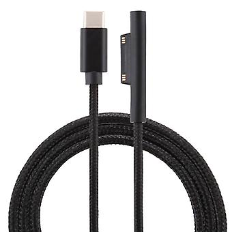 USB-C / Type-C to 6 Pin Nylon Male Power Cable for Microsoft Surface Pro 3 / 4 / 5 / 6 Laptop Adapter, Cable Length: 1.5m