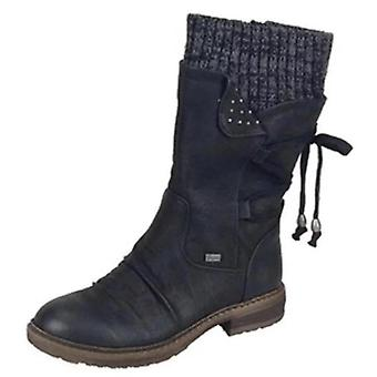 Autumn Winter Warm Vintage Flat Lace Up Snow Boots, Knitting Patchwork Female